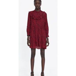 Ruffled red animal print dress